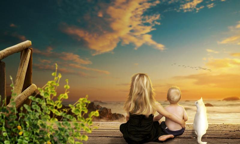 дети и закат